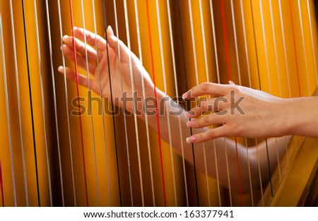 Detail of a woman playing the harp #163377941