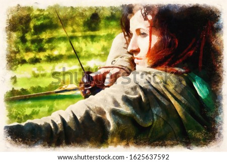 detail of a woman training shooting with a bow on a meadow. Computer painting effect.