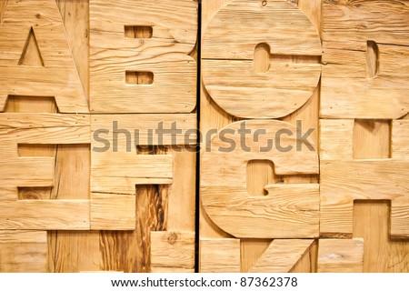 Detail of a wooden alphabet