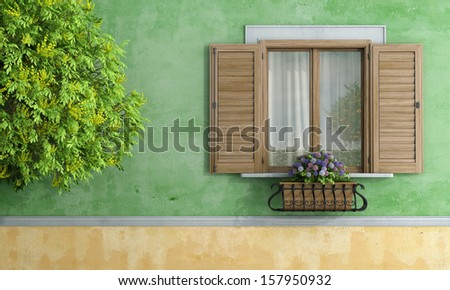 Detail of a wooden window with flower pot and tree - rendering
