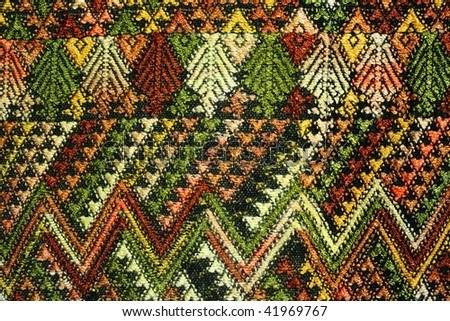 Detail of a woven pattern on Guatemalan fabric