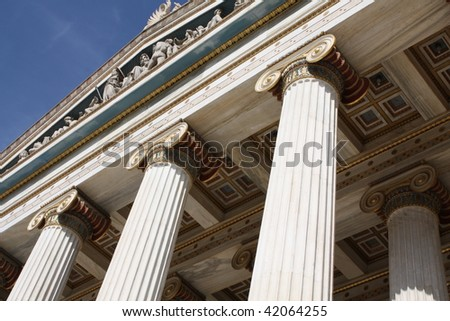Detail of Academy of Arts in Athens, Greece