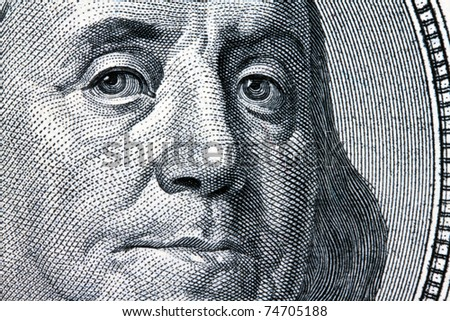 Detail of American dollar bills. Franklin - Portrait
