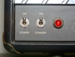 Detail of an amplifier for electric guitar or bass