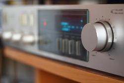 Detail of an amplifier volume button.