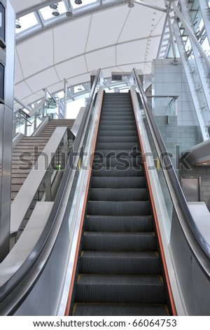 Detail of an escalator in a subway station