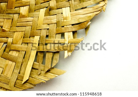 Detail of an handmade wicker and copy space