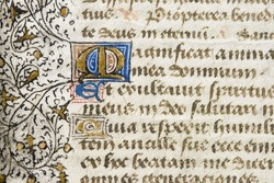 detail of an illuminated manuscript containing a portion of the Magnificat