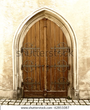 detail of an old church or castle door