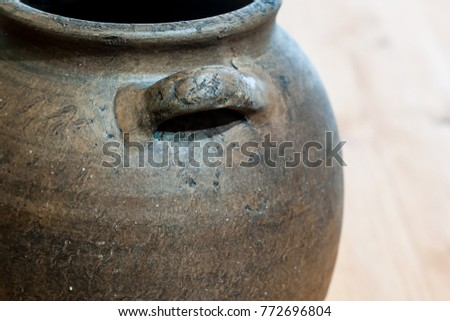 Detail of an old clay jar #772696804