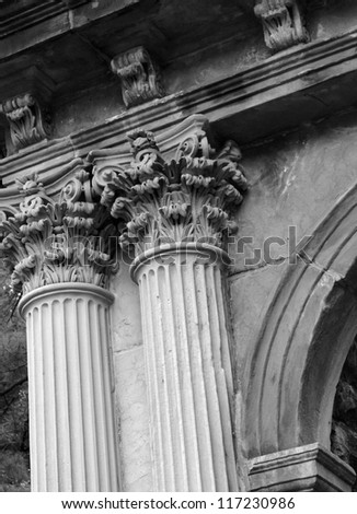 Detail of an old heritage architecture in black and white