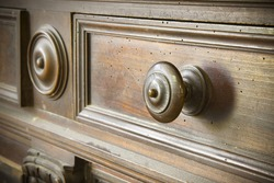 Detail of an old knob turned wood - Tuscany furniture - Italy, 19th century