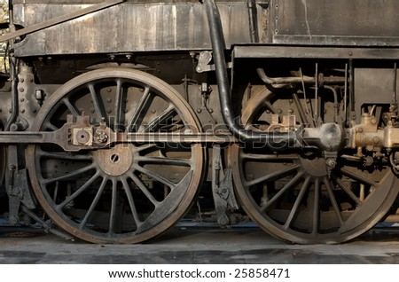 Detail of an old steam locomotive