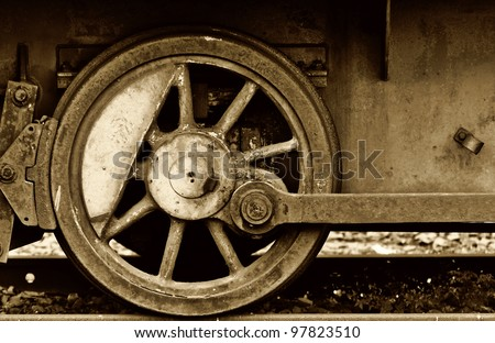 detail of an old steam train