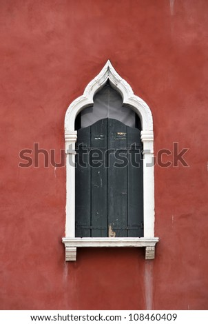 Detail of an old venetian style window. Venice. Italy