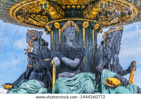 Detail of ancient Fontaines de la Concorde (1840) on Concorde Square (Place de la Concorde) in Paris, France.  #1444360772