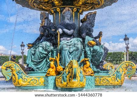 Detail of ancient Fontaines de la Concorde (1840) on Concorde Square (Place de la Concorde) in Paris, France.  #1444360778