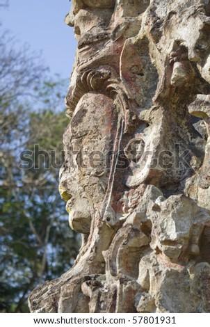 Detail of ancient Mayan Gods and demons at Copan, Honduras