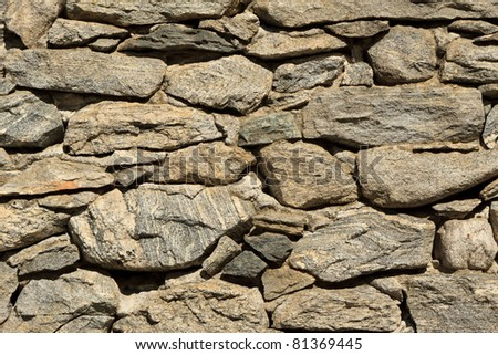 Detail of ancient stone wall in Ticino.