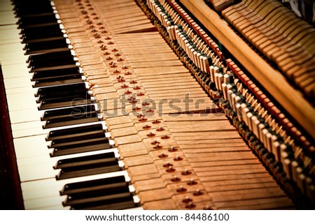 detail of ancient wooden piano