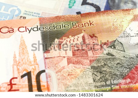 detail of 5 and 10 Pounds Sterling notes issued by Clydesdale Bank PLC #1483301624