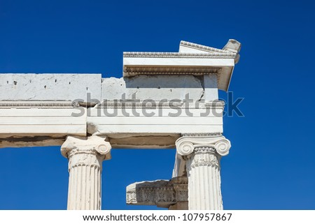 Detail of antique greek temple in Athens