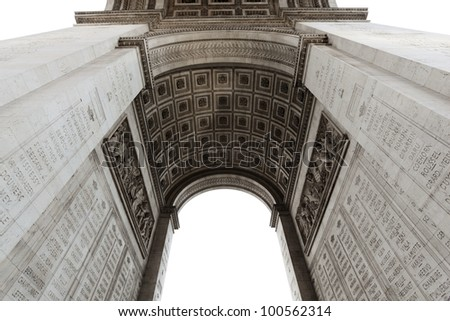 Detail of Arc de Triomphe aka Arch of Triumph, Paris, France. - stock photo