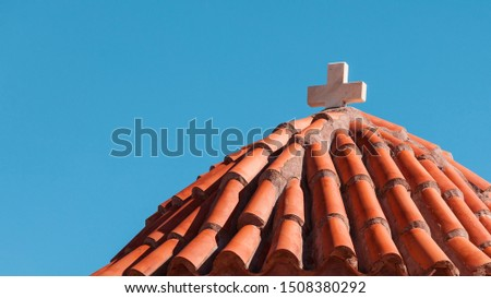 Detail of architecture stone church in Vathia old town, Mani Peloponnese Greece. Architectural theme.