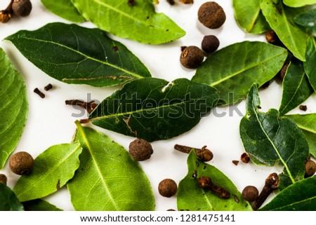 Detail of arranged background from different spices, fresh green bay leaf herb, allspice and clove. #1281475141