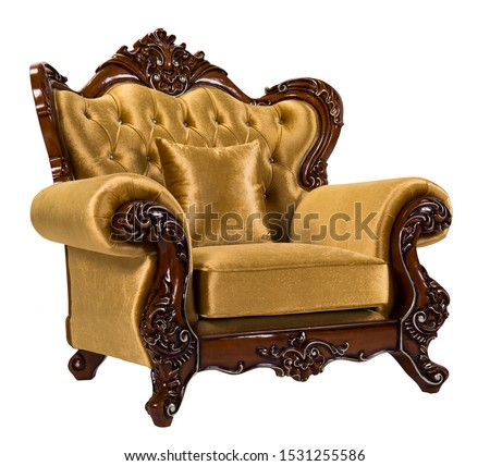 Detail of Baroque Armchairs with gold frame isolate on wihte background. Luxurious furniture #1531255586