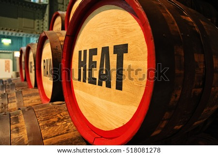 detail of barrels of beer in Guinness Storehouse brewery