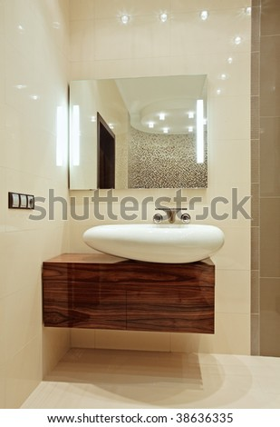 Detail of Bathroom Interior with wash-stand and mirror