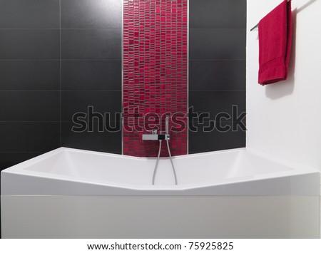 detail of bathtub in modern bathroom