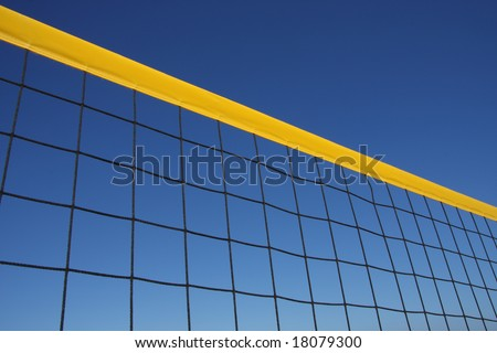Detail of beach volley net wit a perfect blue sky
