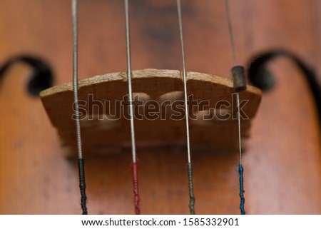 Detail of beatiful old violin bridge and strings on red background.
