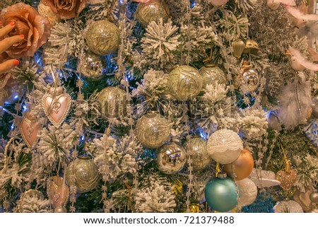 Detail of beautiful christmas tree decorations #721379488