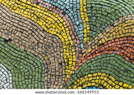 Detail of beautiful old collapsing abstract ceramic mosaic adorned building. Venetian mosaic as decorative background. Selective focus. Abstract Mosaic Pattern. Abstract mosaic colored  ceramic stones #666149953