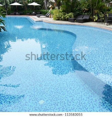 detail of beautiful swimming pool.
