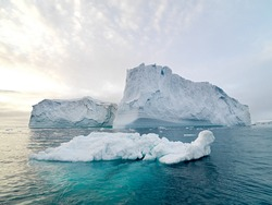 detail of beautifully white antarctic iceberg in the middle of the south atlantic ocean.