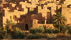 Detail of Berber Kasbah fortress made of clay, Ait Benhaddou, Morocco