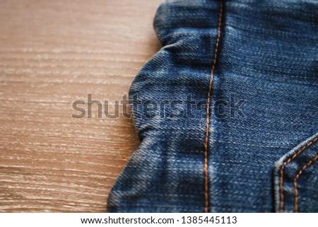 Detail of Blue Jeans denim texture. Denim jeans texture or denim jeans background. Denim jeans texture.