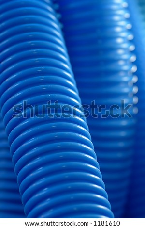 Detail of blue plastic pipes