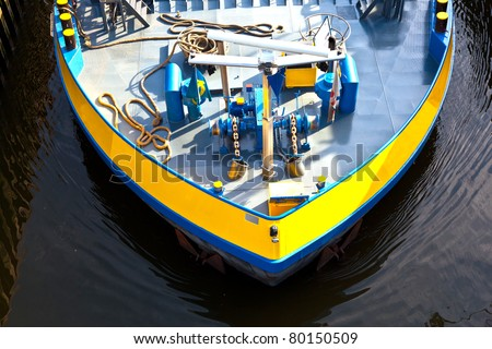 detail of boat for inland water transportation in a sewer port