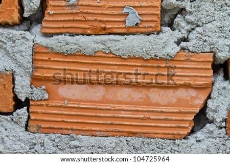 Detail of brick wall with bricks