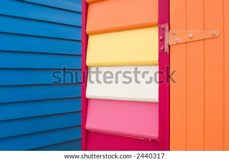 Detail of brightly painted wooden building