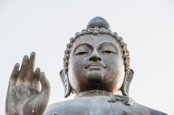 Detail of Buddha statue. Chiang Rai province, Northern Thailand.