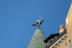 Detail of cat sculpture at Cat House - Art Nouveau architecture building in Riga - Riga, Latvia