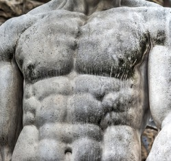 Detail of chest of Hercules statue in Florence, Italy