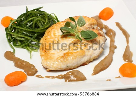 Detail of chicken breast with green side and dressing