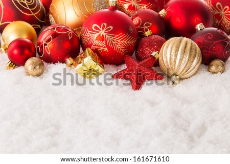 Detail of Christmas decoration on snow